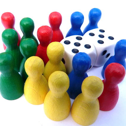 Ludo playing pieces with two dice