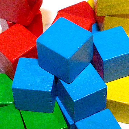 Wooden colour cubes for games